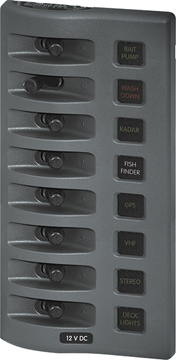 """WEATHERDECK? WATER RESISTANT FUSE PANEL-8-Position, Gray, 7.7""""H"""