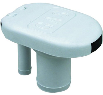 BOAT COMBINATION GAS FILL & TANK VENT-White with Flip-top Cap