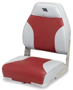 DELUXE MID BACK FOLD-DOWN SEAT-Gray/Dark Red Vinyl